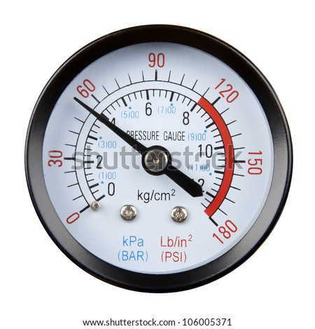 pressure gauge isolated on a white background - stock photo