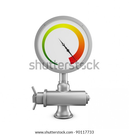 pressure gauge isolated on white background in red area