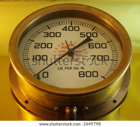 Pressure Gauge on bluebackground.