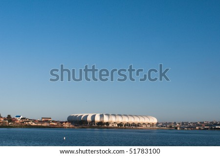 PRETORIA - APRIL 3: South Africa will host the next soccer world cup. Here a view of the beautiful new Porth Elizabeth stadium dedicated to Nelson Mandela, April 3, 2010 in Pretoria South Africa
