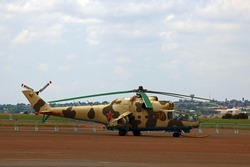 PRETORIA, SOUTH AFRICA - OCTOBER 21, 2020: Mil Mi 24 Hind helicopter standing on tarmac on static display at the South African Air Force Museum.