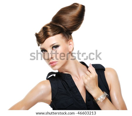 Pretty adult girl with creative fashion stylish female hairstyle - isolated with copy space
