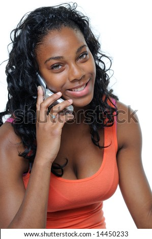 Pretty African American Teen Girl Talking On A Mobile Cellphone