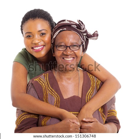 pretty african daughter hugging her senior mother over white background