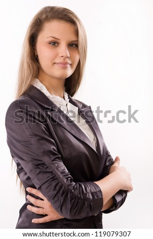 Pretty and confident business woman in a office