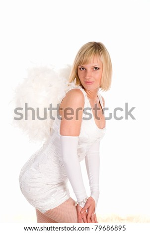 pretty angel dreaming on a white background