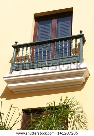 Pretty architecture with a balcony in San Juan, Puerto Rico - stock photo