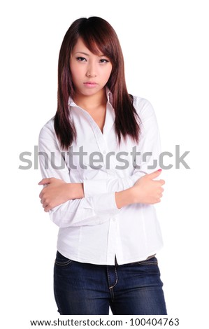 Pretty Asian girls face difficult choices, in isolated white background