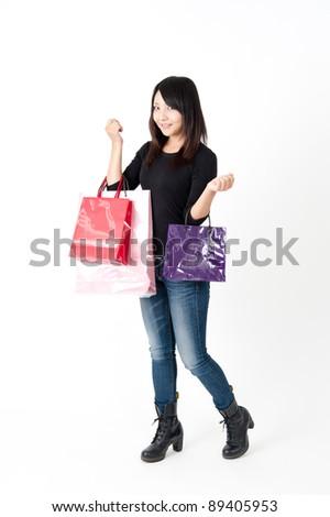 pretty asian woman in shopping