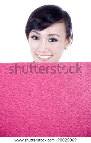 Pretty asian woman with blank sign board isolated on white
