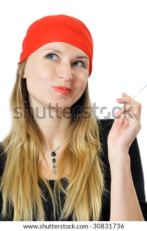 Pretty bandit with a cigarette in hand, isolated on white