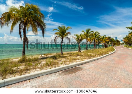 Pretty beach along the Rickenbacker Causeway in Key Biscayne in Miami.