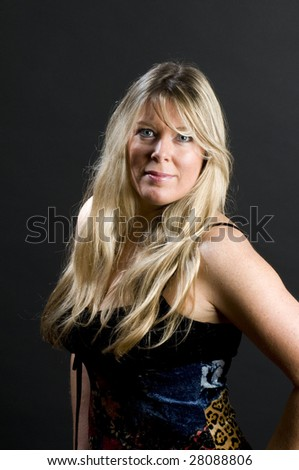 pretty beautiful middle age blond woman inquisitive look expression senior