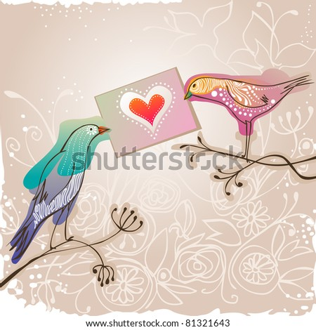 pretty birds holding love message - for vector version see image no. 80913988