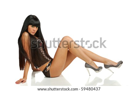pretty black hair girl in black underwear isolated on white side view a lot of copy space