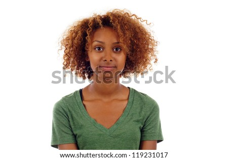 Pretty black woman closeup portrait  isolated over white background