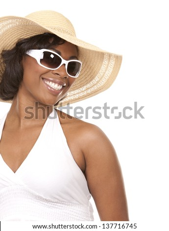 pretty black woman wearing white summer outfit on white background