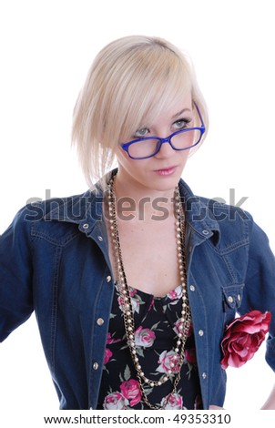 Pretty blond wearing glasses