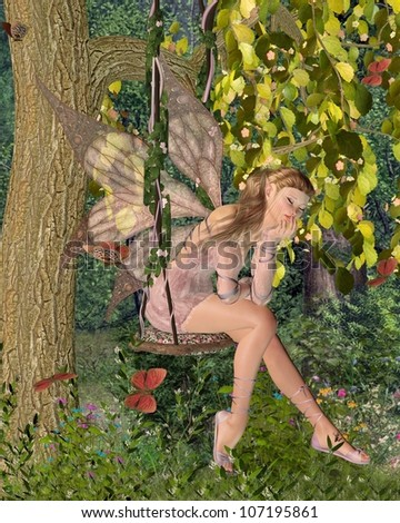 Pretty blonde fairy with pink dress and wings sitting day-dreaming on a swing in a sunny woodland surrounded by butterflies, 3d digitally rendered illustration
