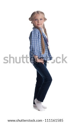 Pretty blonde girl in jeans