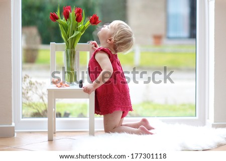 Pretty blonde toddler girl smelling beautiful tulips standing on the tiles floor table next to a big window with street view