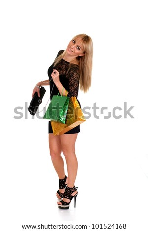 pretty blonde with bags posing on white