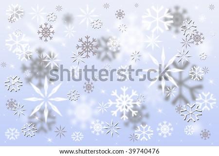 Pretty blue snowflakes - stock photo
