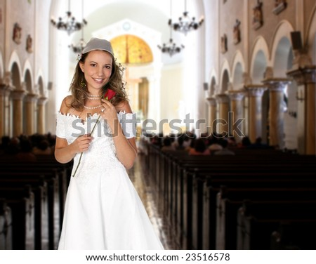 Pretty Bride inside a Church Waiting to Walk Down the Aisle