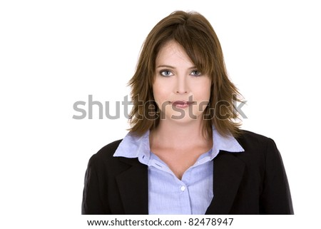 pretty brunette wearing business outfit on white background