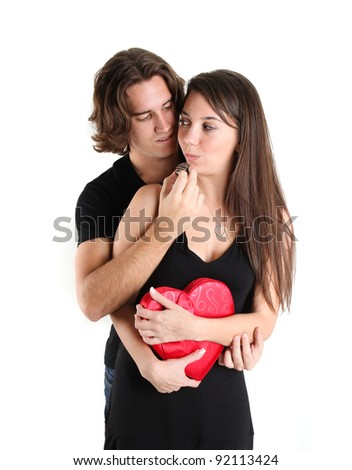 Pretty Brunette With her handsome guy being fed Chocolates