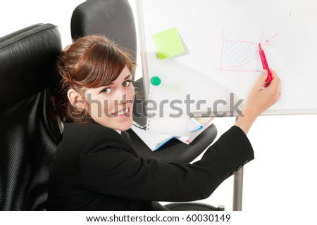 Pretty business lady or student showing a graph at a whiteboard