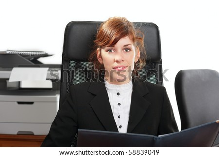 Pretty  business lady or student working at a desk