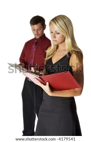 Pretty Business Lady, With Male Co-Worker