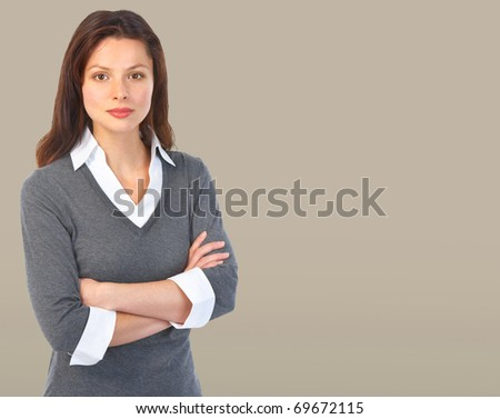 Pretty business woman. Over grey background - stock photo