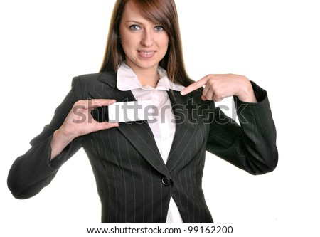 Pretty business woman with business card