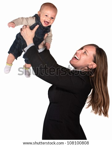 Pretty businesswoman holding her baby over white background