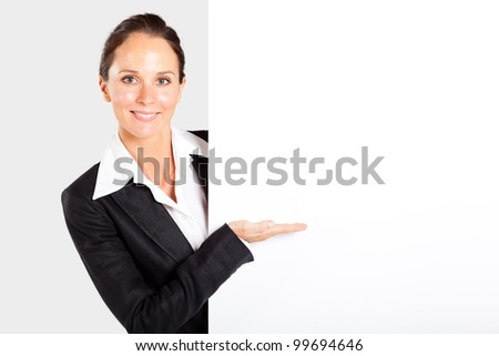 pretty businesswoman presenting white board