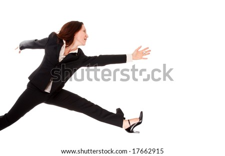 pretty businesswoman running very fast isolated on white