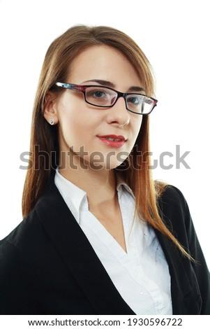 pretty busineswoman headshot isolated over white