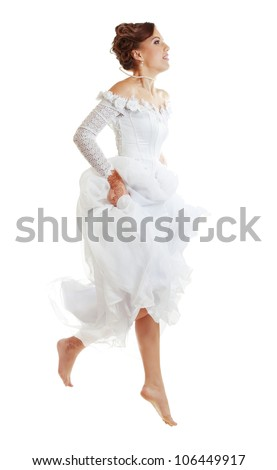 Pretty Caucasian Runaway or Jumping Bride