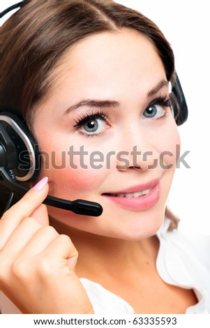 Pretty caucasian woman with headset smiling during a telephone conversation.