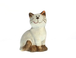 pretty ceramic kitty isolated on white background