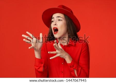 Pretty charming woman red shirt charm lifestyle lipstick model