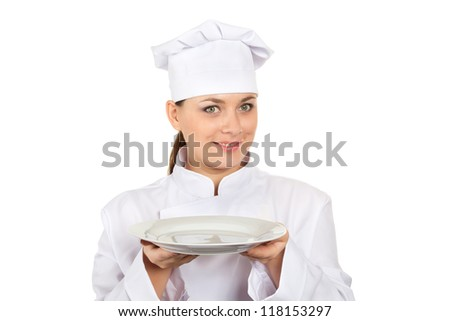 Pretty Chef In Uniform With Empty Plate Isolated On White Background (with clipping path)