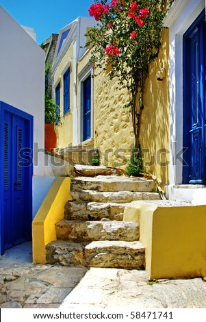 pretty colored streets of greek islands