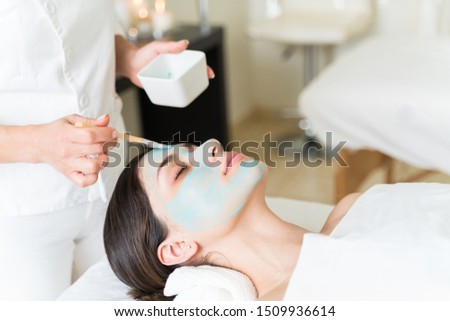 Pretty customer relaxing while cosmetician applying facial mask on her face with brush at healthcare center