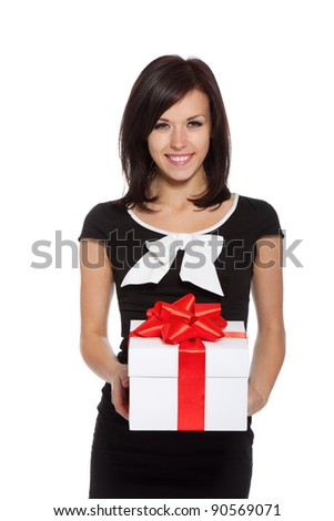 pretty excited woman happy smile hold gift box in hands, isolated over white background