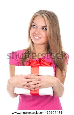 pretty excited woman happy smile hold gift box in hands looking up to empty copy space, isolated over white background