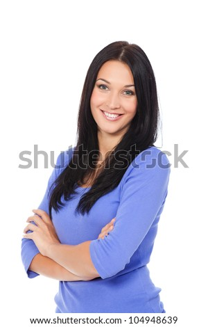 pretty excited woman happy smile, young attractive girl portrait stand folded hands wear shirt, looking at camera toothy smiling isolated over white background