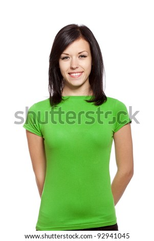 pretty excited woman happy smile, young attractive girl wear green shirt, isolated over white background